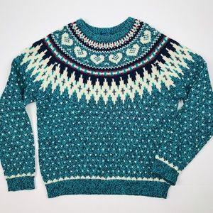 Vintage Woolrich Woman Fair Isle Wool Sweater